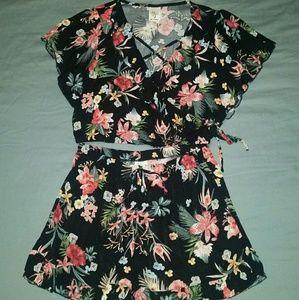 Self Esteem | Casual Floral Crop Top+Shorts